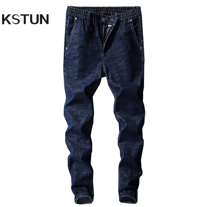 KSTUN Men's Jeans Elastic Waist Slim Leg Stretch Solid Blue Casual Denim Pants Students Boys Male Trousers Joggers Jeans Hombre colorful jeans male slim print elastic skinny pants trousers trend pattern male jeans