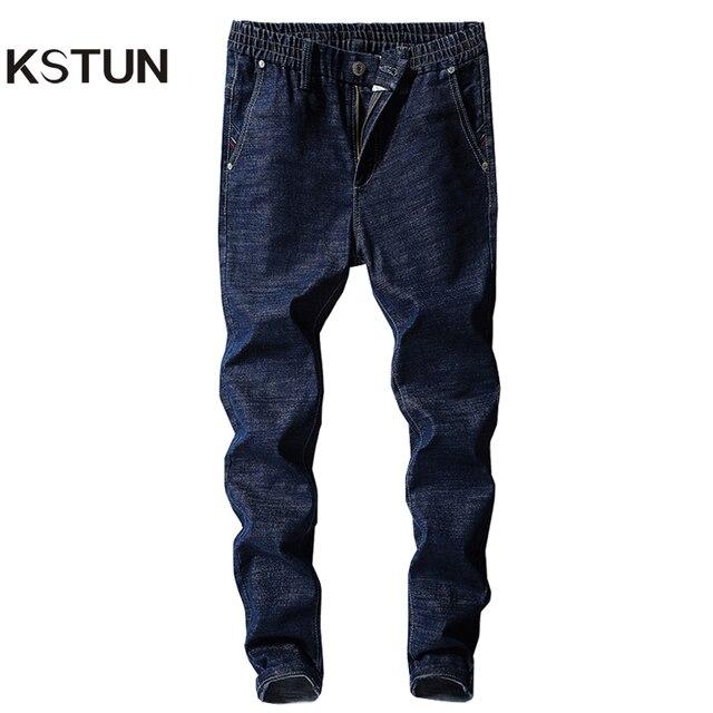 253b5602a8 US $21.06 44% OFF|KSTUN Men's Jeans Elastic Waist Slim Leg Stretch Solid  Blue Casual Denim Pants Students Boys Male Trousers Joggers Jeans Hombre-in  ...