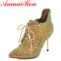 ANMAIRON New High Heels Pointed Toe Lace Up Shoes Woman Golden Shoes Large Size 34 43