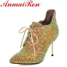 ANMAIRON Nueva Tacones Punta estrecha con cordones Zapatos de Mujer de Oro zapatos de Gran Tamaño 34-43 Botines para Mujer de Invierno Cálido botas