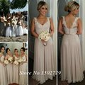 De color caqui de encaje dama de Honor largo vestidos A-Line tirantes piso longitud gasa dama de Honor vestido de huésped de la boda vestidos