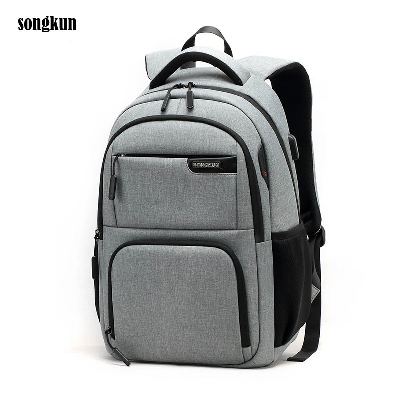 Gray Fashion College Students School Bag Teenagers Bolsa Mochila for 15.6 Inch Notebook Laptop Backpack Back Ventilation Design