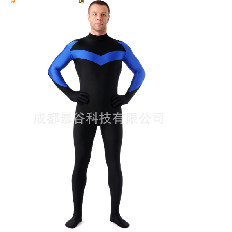 high quality Male Hero Lycra Zentai Suits No Hood Skin Tight Leotard Anime show Mens Cosplay Full Bodysuits Halloween Costumes