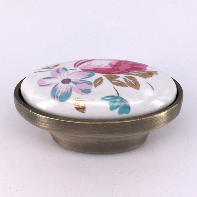 CC 16mm Tulip Ceramic Door Handle Oval Drawer Pulls Cupboard Kitchen Cabinet  Handles And Knobs Furniture