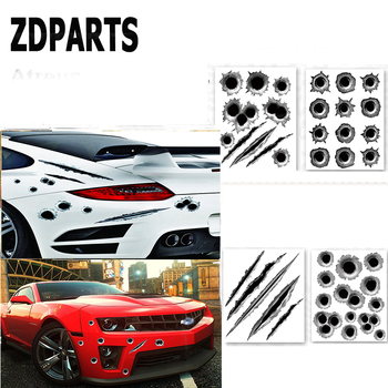 ZDPARTA 1X Car Styling 3D Bullet Holes Fender Vent Stickers For BMW E46 E39 E60 E90 E36 F30 F10 X5 E53 E34 E30 Mini Cooper Lada image