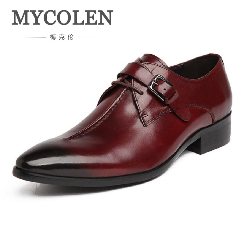 MYCOLEN Fashion Breathable British Tide Genuine Leather Pointed Toe Lace Buckle Mens Dress Shoes Casual Business Male Shoes Men british fashion men business office formal dress breathable genuine leather shoes lace up oxford shoe pointed toe teenage sapato
