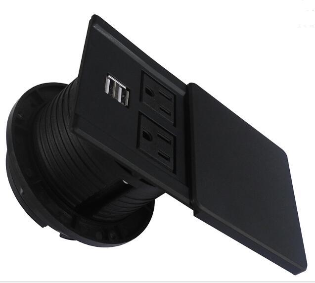 2019 Nuovo Round Presa Da Tavolo con Universale di potere e Caricatore USB2019 Nuovo Round Presa Da Tavolo con Universale di potere e Caricatore USB