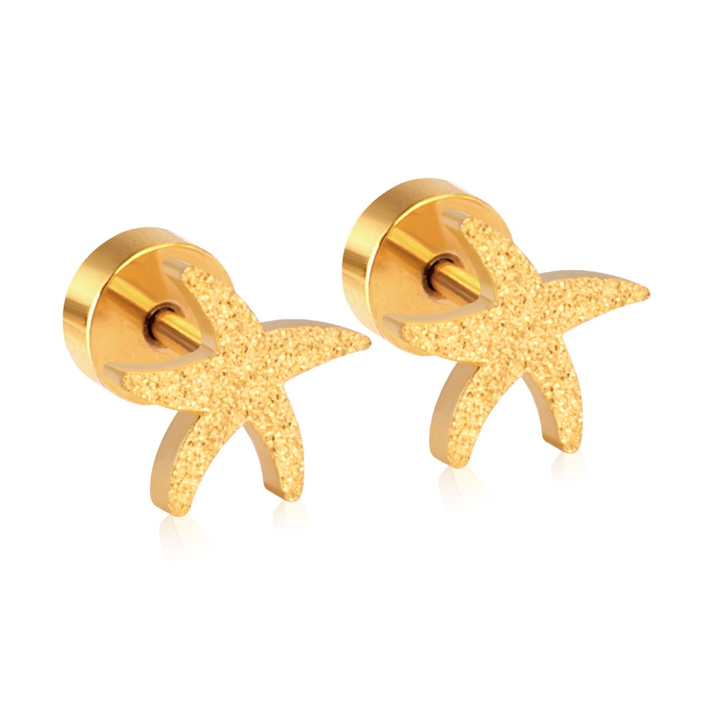 6824ccda8 Gold/Silver Color Stainless Steel Star Earring Trendy Style Star Shap Screw  Stud Earrings For