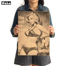 Sexy Girl Retro Posters Vintage Poster kraft paper painting paper posters wall sticker cafe bar pub print picture 42x30cm GGB060(China)