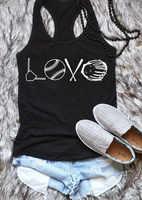 Black Tees Women 2019 Summer Fashion Love Baseball Tank Top Sleeveless Tee Female Loose Camis Basic Summer Tees Women Clothes