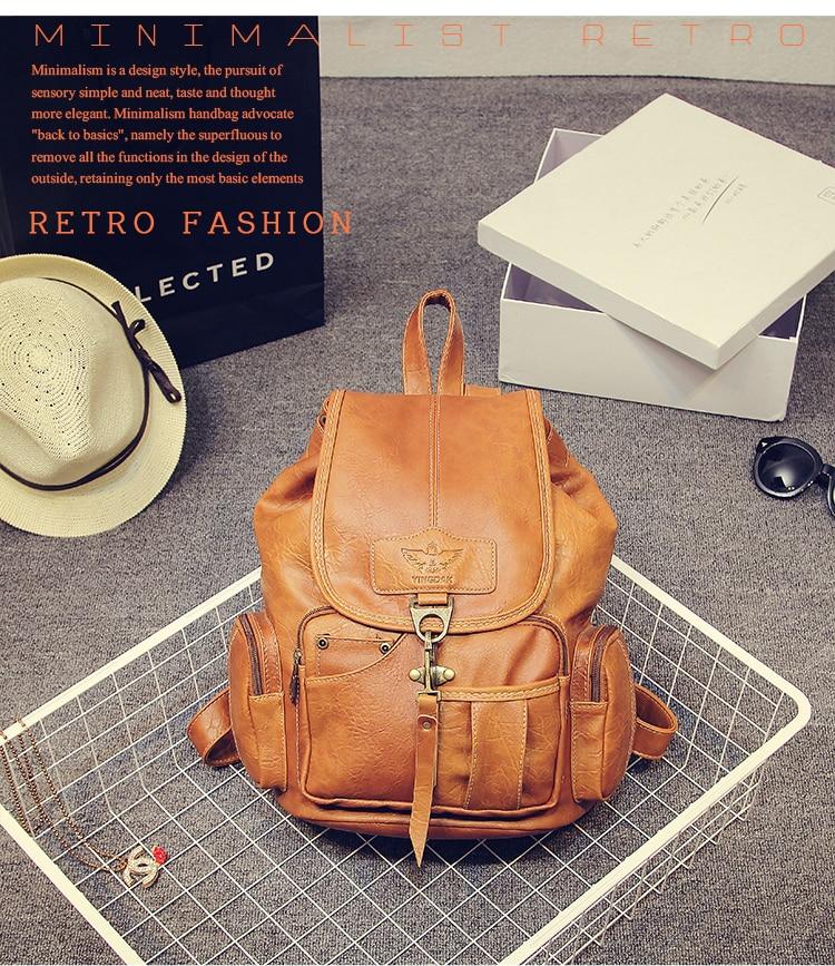 HTB17SbFywmTBuNjy1Xbq6yMrVXaO High Quality Women Backpack Vintage Backpacks For Teenage Girls Fashion Large School Bags PU Leather Black Mochila Feminina