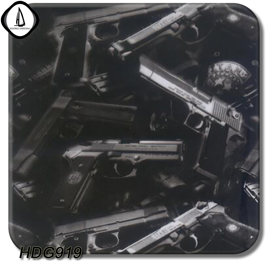 Hot Selling Car Styling Pistol Hydrographic Liquid Image Water Transfer Printing Film 0.5M Width 10M 20M Length HDG919