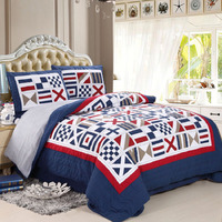 American Patchwork Bedspread Quilt Set 3PCS/4pcs Bedding Washed Cotton Quilts Bed Covers King Queen Size Coverlet Blanket