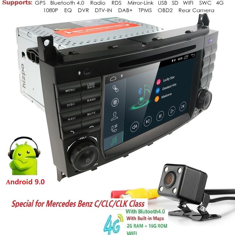 GRAM 2 Android9.0 2DIN CarDVD GPS Para Mercedes/Benz W203 W209 W219 A160 C-Classe A-Classe c180 C200 CLK200 4G WIFI DTV rádio estéreo