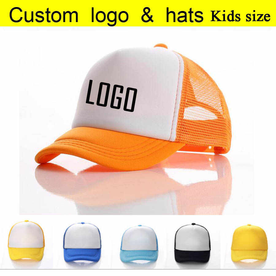 18f2dc814cff2 10Pcs A lot Kids Baseball Caps Custom Printing LOGO Letters Hat Children  Boys Trucker Cap