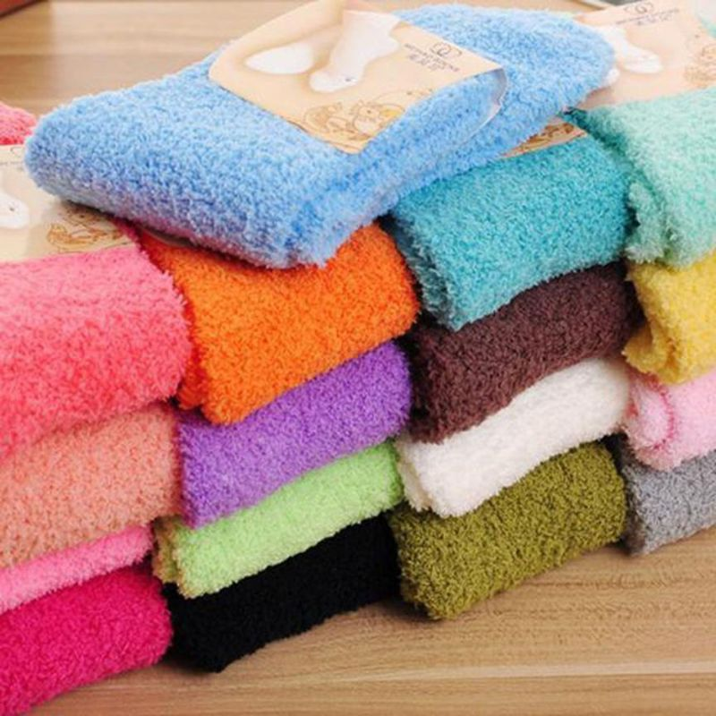 Womens Winter Fluffy Long   Socks   Thick Warm Coral Fleece Sleep Floor Candy Color