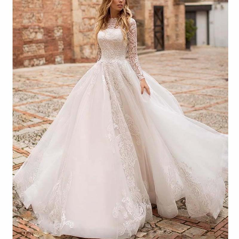 Elegant Sheer Long Sleeve Lace A Line Wedding Dresses With Train 2019 Buttons Back Bride Dress