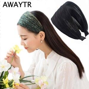 Женский широкий ободок AWAYTR, блестящая сетчатая лента для волос 8 см, элегантные аксессуары для волос