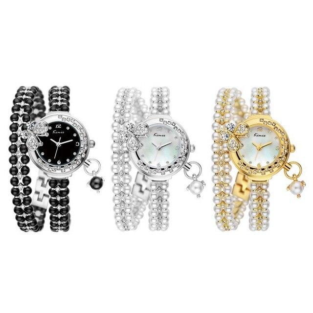 Kimio Brand Relojes Mujer Korea Luxury brand butterfly pearls bracelet Watch Women female Ladies Dress fashion Quartz Wristwatch