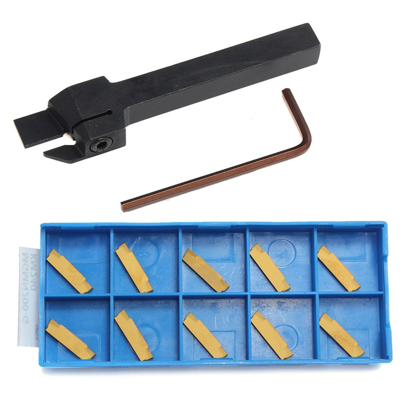 10pcs MGMN200 Gold Inserts + 1pc MGEHR1010-2 Turning Tool Holder Boring Bar with Wrench Mayitr ser1616h16 holder external thread turning tool boring bar holder with 10pcs 16er ag60 inserts