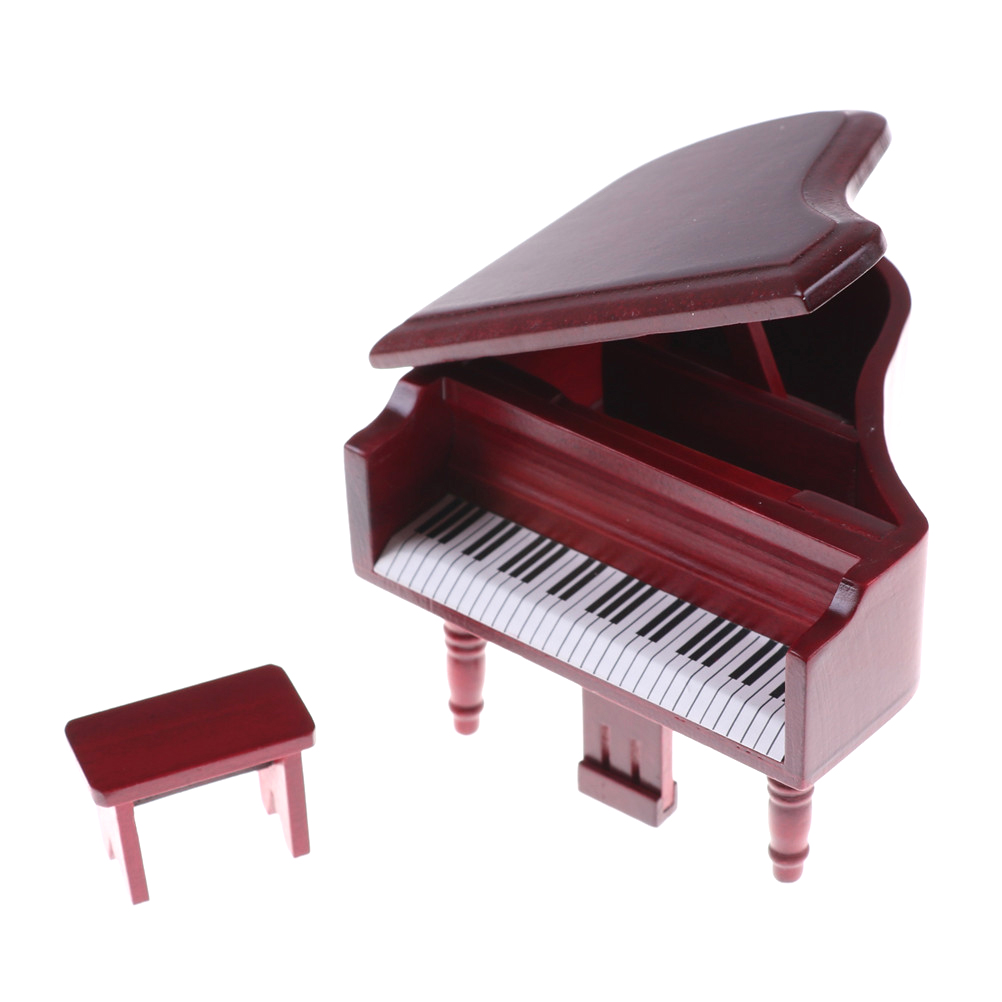 Vivid Red Grand Piano Model With Music Stool Musical Instrument Miniature Display Model Best GIft For Child And Family 1Set