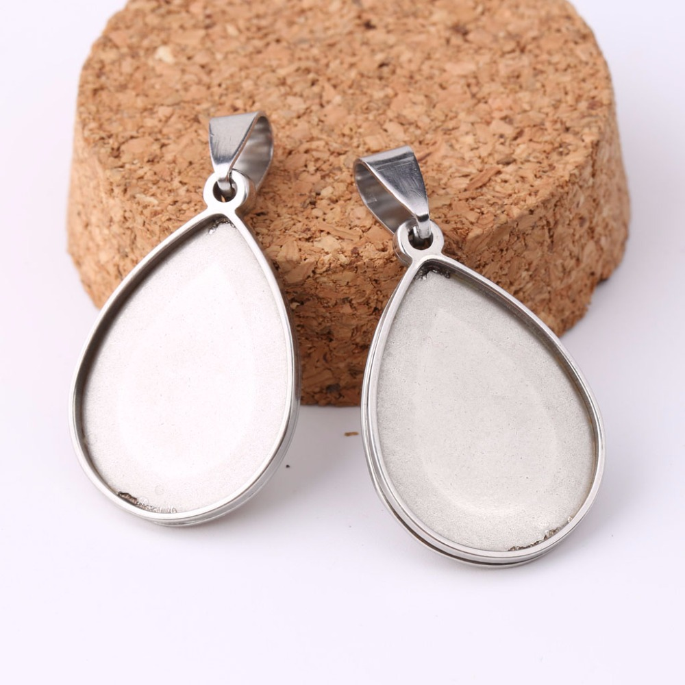 onwear 10pcs stainless steel pendant cabochon setting 18x25mm teardrop bezel trays diy cameo base blanks for necklace mibrow 10pcs lot stainless steel 8 10 12 14 16 18 20mm blank french lever earring tray cabochon setting cameo base jewelry