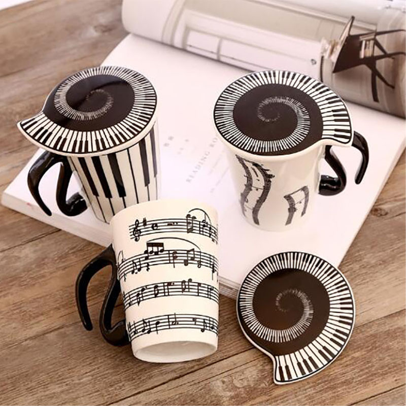 1 Piece Novelty Ceramic Cup Personality Music Mug Coffee Tea Cup Home Office Drinkware Unique Gift
