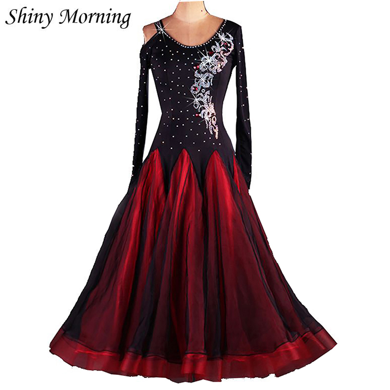 customize  wine red black  adult Ballroom Fox trot Quick step tango Modern galop Waltz rhine stone competition Dance Dress