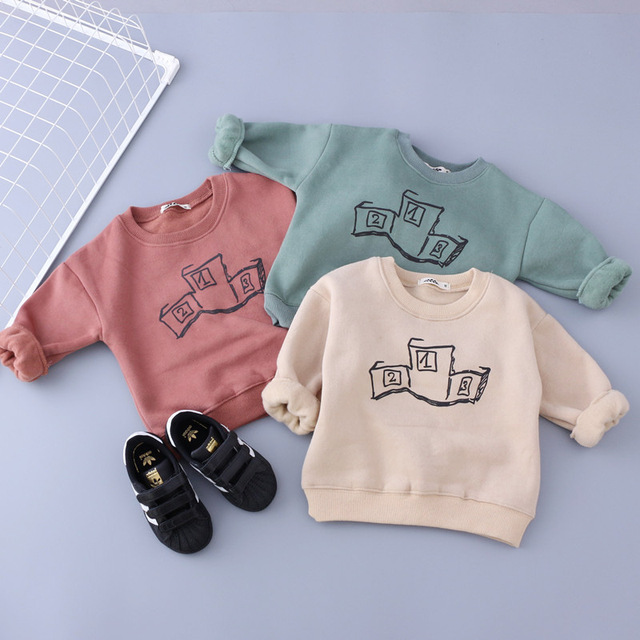 toddler girls long sleeve thicken cotton blouses shirts for boys t shirt enfant winter warm coat outerwear korean kids clothes