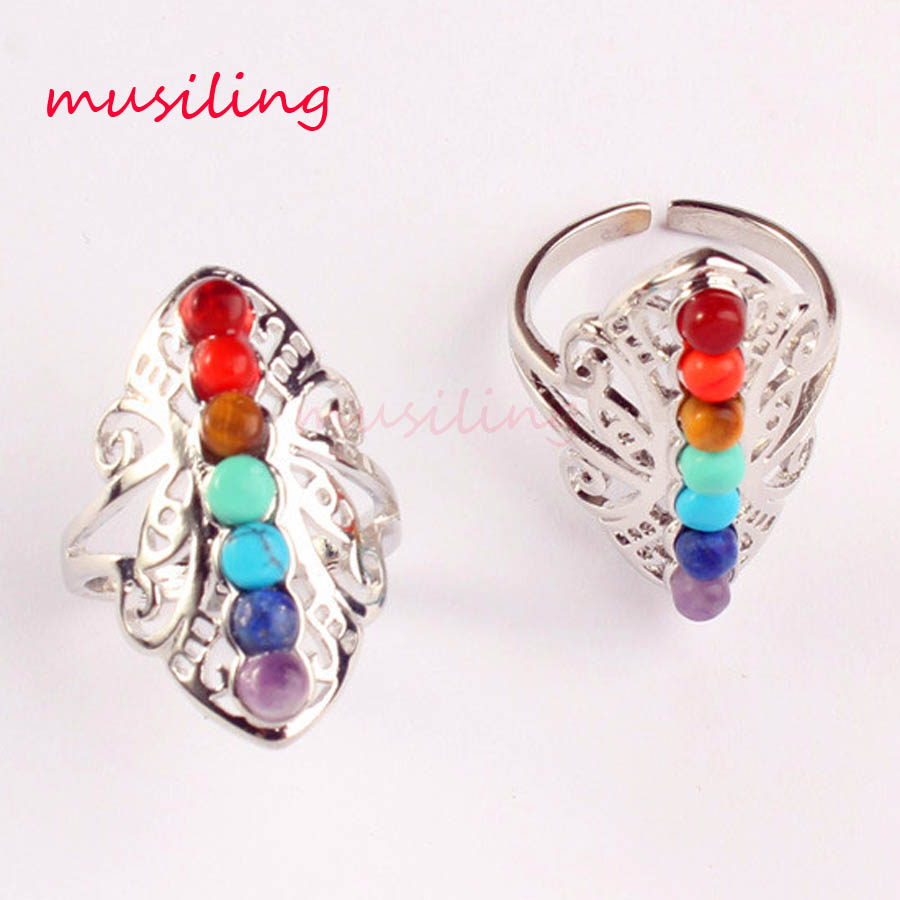 Natural Stone Ring 7 Beads Point Charms Adjustable Rings Lord Charms Accessories European Fashion Mens Jewelry 10Pcs in Rings from Jewelry Accessories