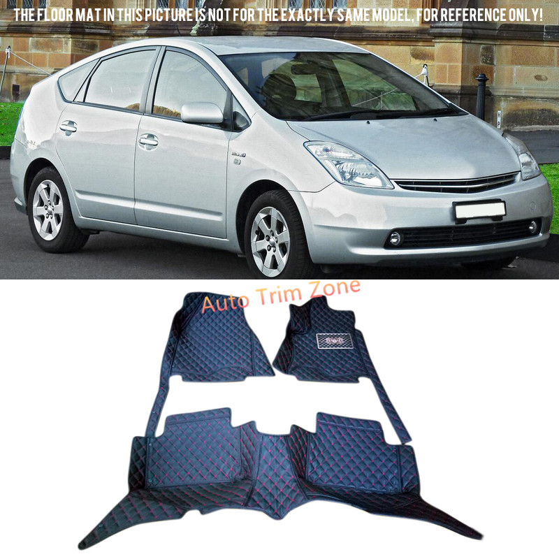 Black Interior Leather Floor Mats & Carpets For Toyota Prius 2004-2009 XW20 interior black leather floor mats