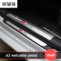 Interior outside door sills scuff plates guard S line threshold strip plate stainless steel welcome pedal 3D sticker for Audi A3
