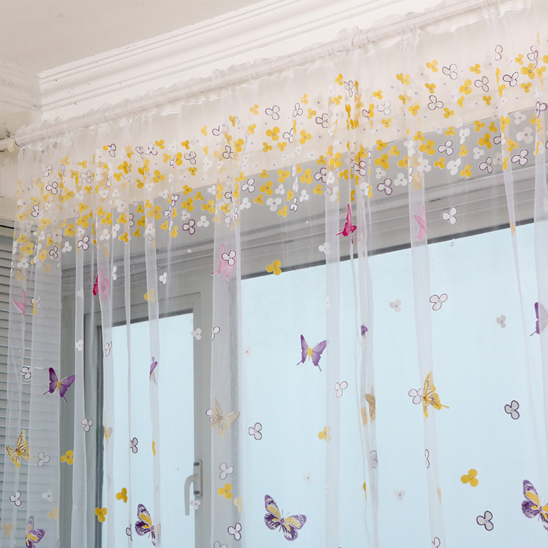 Purple butterfly curtains - New 1mx2m Butterfly Curtain Wear Rod Screens Floral Tulle Voile Door Window Curtain Drape Panel Sheer