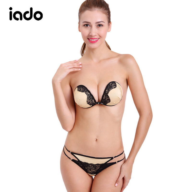 Iado Lace Sexy   Bra     Set   Push Up Seamless Brallette Panties   Bra     Set   Underwear Lingerie Strapless Silicon Invisible   Bra   &   Brief     Set