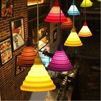 Pendelleuchten bunte led e27 lamparas colgantes pendente de teto silikon vintage edison glanz seil anhänger lampe leuchtet