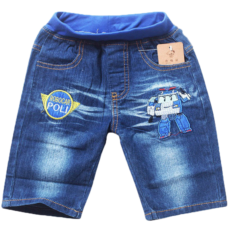 Cheap Sale Baby Boys Summer Denim Short Pants Children Kids Cartoon Robot Poli Car Jeans Pants for 2-5Years Clothing Trousers 2016 hot summer fashion children s sets boys short sleeve denim shirt knee length jeans pants kids leasure clothing homewears