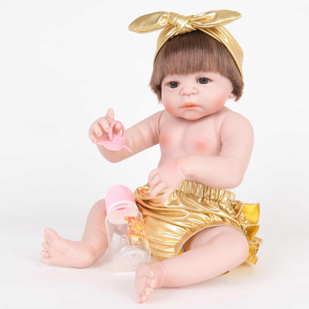 55 см настоящее полное тело силиконовая девочка Reborn Baby Doll Игрушки для ванны реалистичные детские принцесса реалистичные детские куклы дети перед сном Playmate