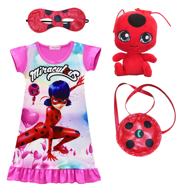 fa6a83bd08aa Miraculous Ladybug Dresses for Girls Summer Evening Party Clothing Lady Bug  Cartoon Clothes Kids Short Sleeve Dress+mask+bag+toy. В избранное. gallery  image