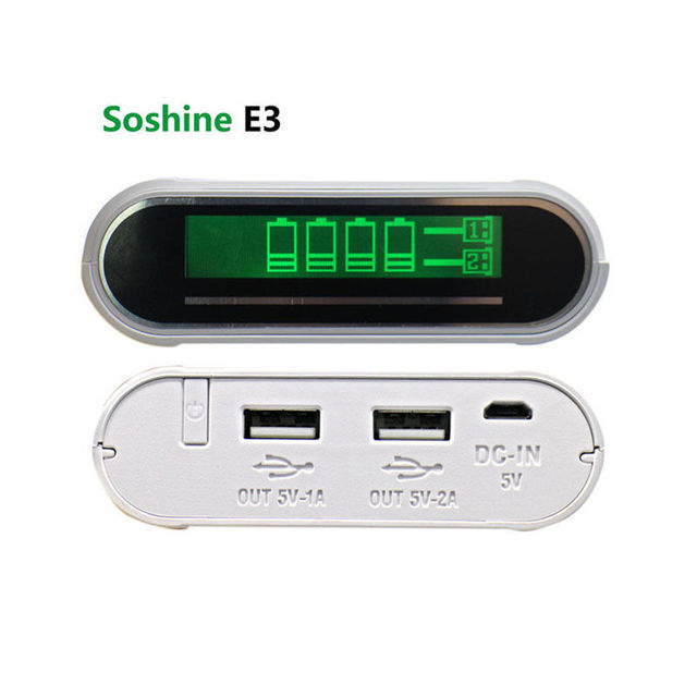 Soshine E3 18650 гнездами зарядное устройство LCD 2 USB Автомобильное Зарядное Устройство 18650 Powerbanks DIY 18650 Батарея Мощность Заряда Поле Powerbank