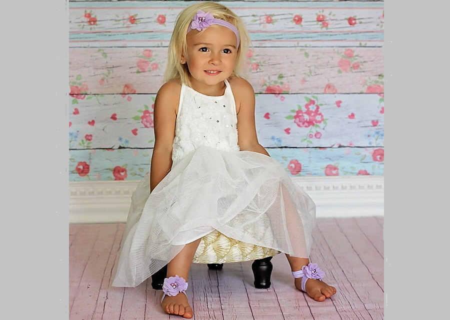 Dziecko z pałąkiem na głowę niemowlę rhinestone kwiaty baby barefoot sandały zestaw opasek buty fotografia rekwizyty akcesoria do włosów dla dzieci