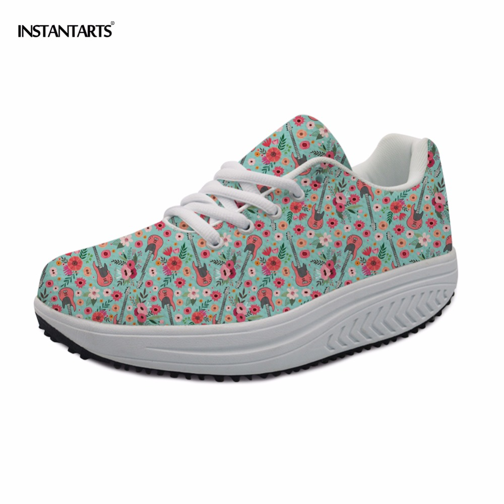 INSTANTARTS Sneakers Swing-Shoes Fitness Slimming Sports Women Flower-Piano Electric-Guitar