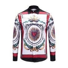 New arrival Fall winter 3D print long sleeve Men's Shirts Italy style retro print Shirt tops D279