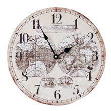 68d29b241 أوروبا والولايات المتحدة الأزياء الحنين خشب متين ساعة حائط خريطة العالم  اللوحة فرملس الديكور جرس 35*35 سنتيمتر