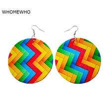 Colorful Wood Round Africa Chevron Autism Awareness Geometric Tribal Earrings Vintage Women Party Accessory Ear African Jewelry