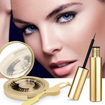 2019 New Hot Magnetic Eyelashes 3D Faux Mink Eyelashes Magnet Lashes Magnetic Liquid Eyeliner&Magnetic False Eyelashes & Tweezer фото