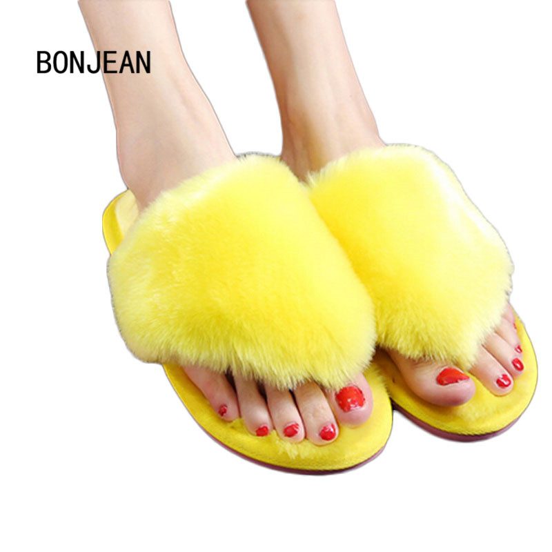 Women Winter Shoes Slippers Warm Flip Flops Fur Indoor Shoes Wool Flats Plush Home Footwear Fashion Household Shoes Plus Size