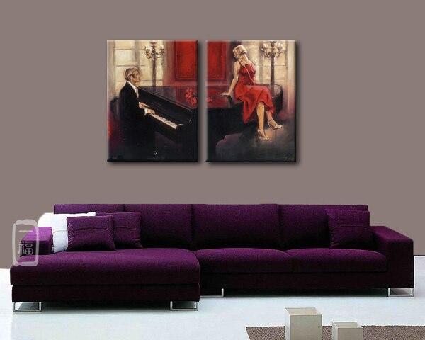 Mooie olie schilderijen foto van pianist en sexy vrouw olieverf