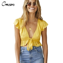 CWLSP Front Drawstring Bow Solid Shirt Butterfly sleeve V Neck Ruffle blouse Summer tops Women shirt camiseta feminina QL3723 drawstring front ruffle bardot top