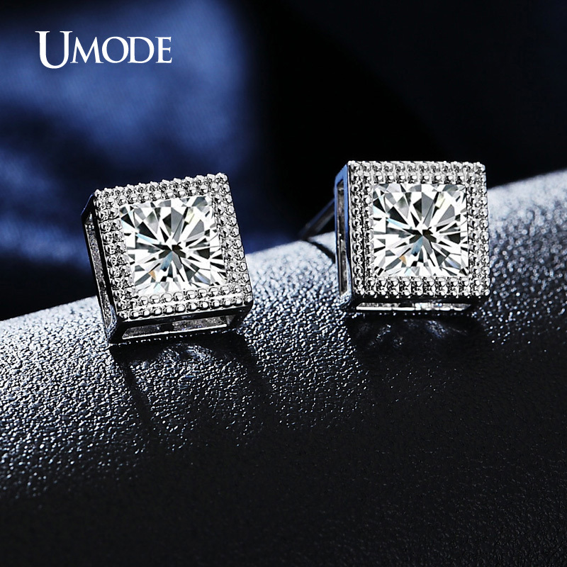 Umode Princess Cut 6mm Cz Cubic Zirconia Stud Earrings Clic White Gold Color For Women Jewelry Brincos Vintage Ue0180 In From