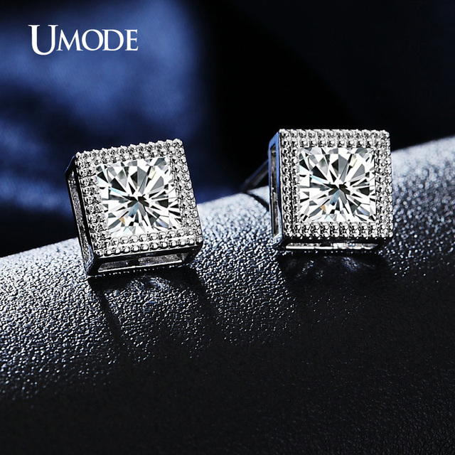 Umode Princess Cut 6mm Cz Cubic Zirconia Stud Earrings Clic White Gold Color For Women Jewelry